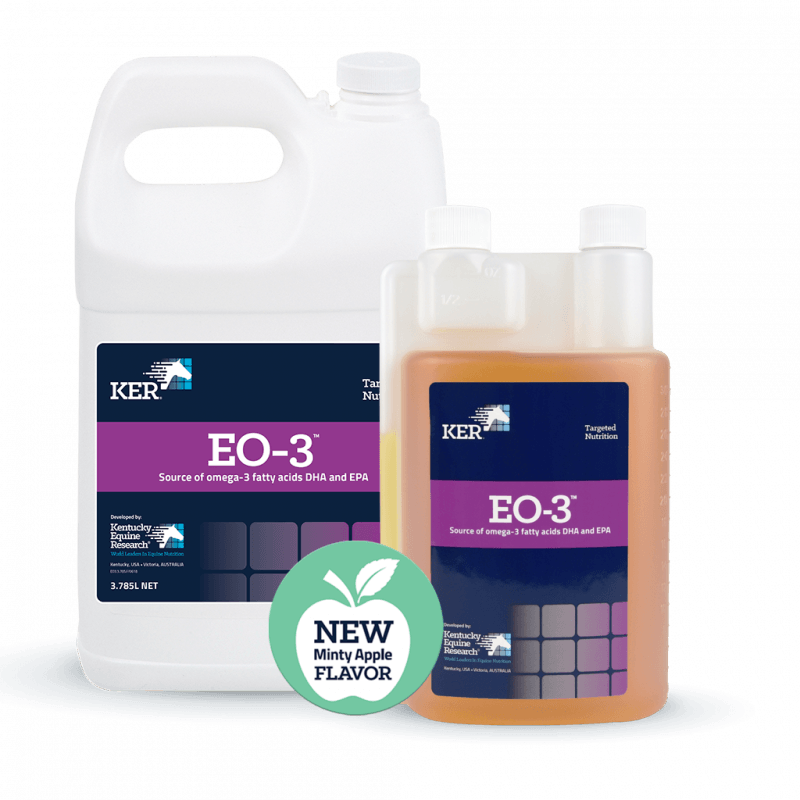 EO-3 product containers with new minty apple flavor icon.
